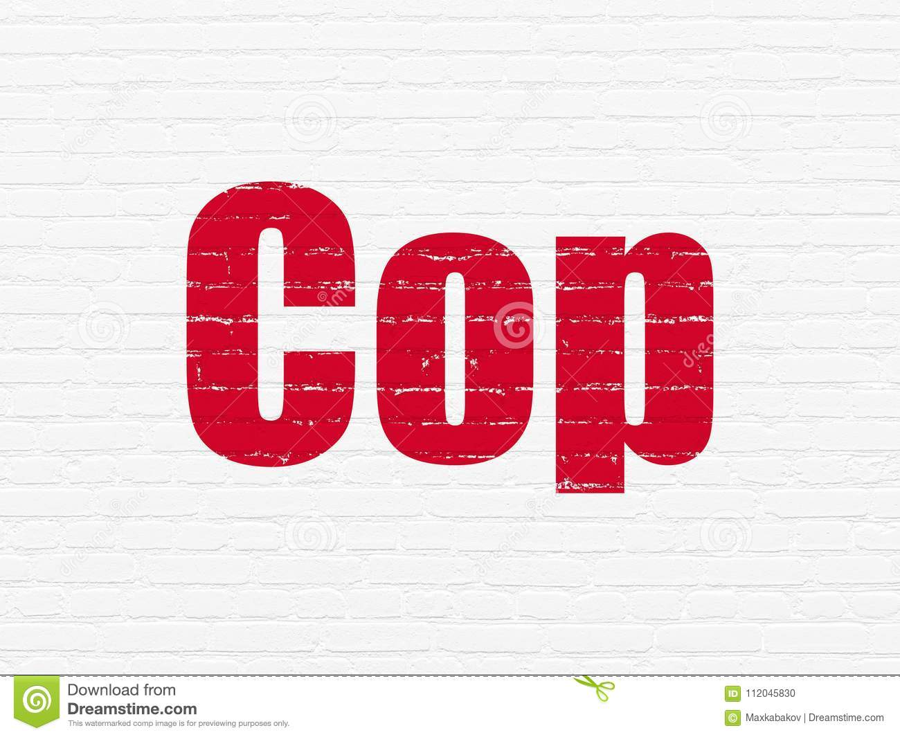 Law Concept Cop On Wall Background Stock Illustration