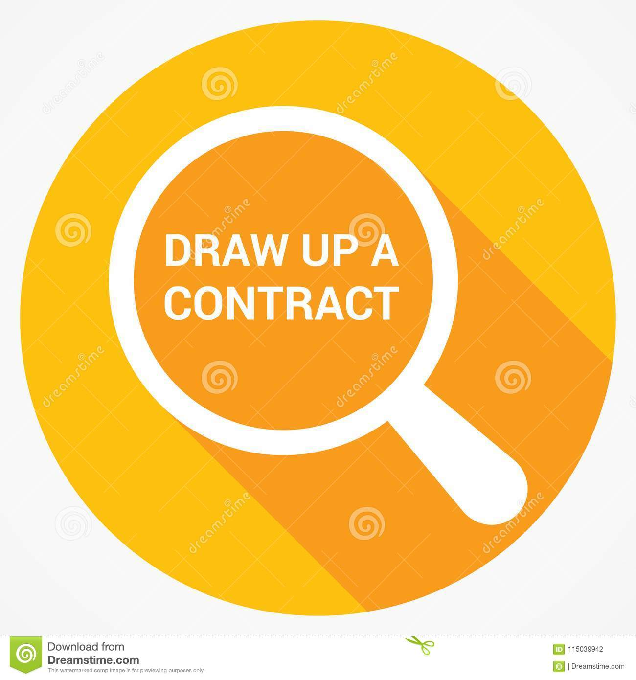 Law Concept: Magnifying Optical Glass With Words Draw Up A Contract