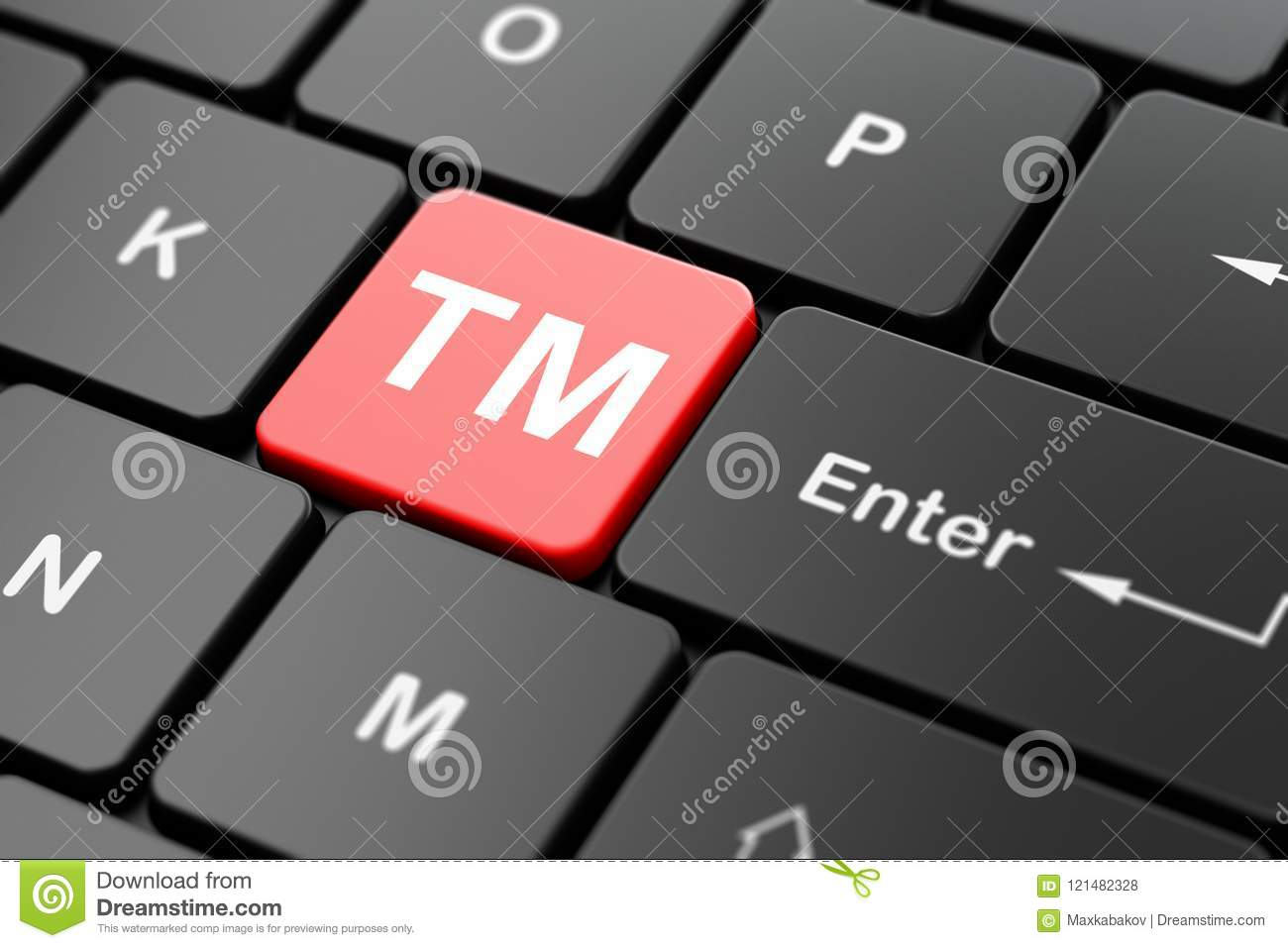 Law Concept Trademark On Computer Keyboard Background Stock