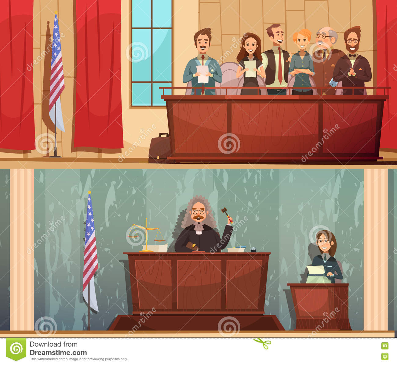 Law Courtroom 2 Vintage Banners Set Stock Vector