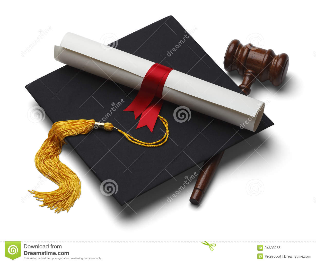 ... Graduation Hat with Degree and Gavel Isolated on White Background