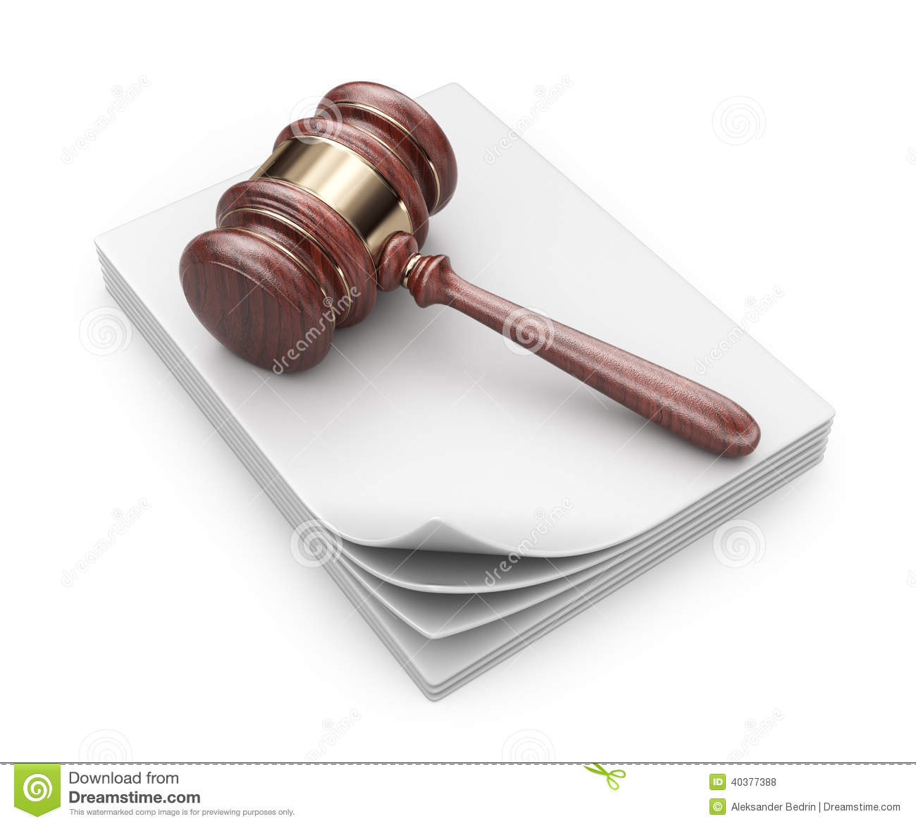 LAW Hammer On Documents. Legal Concept. 3D Icon Stock Illustration ...