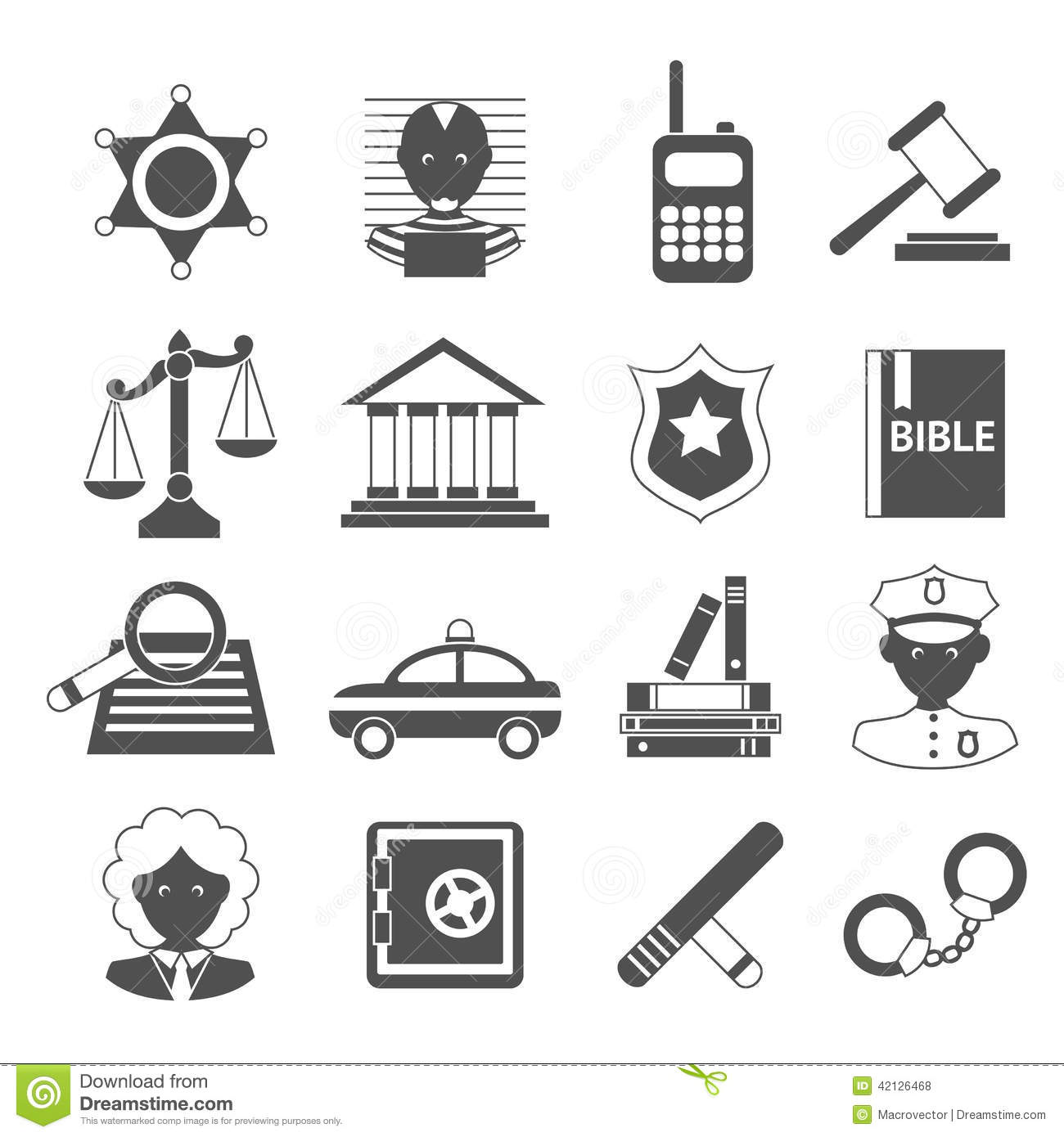 Law icons white and black stock vector. Illustration of ...