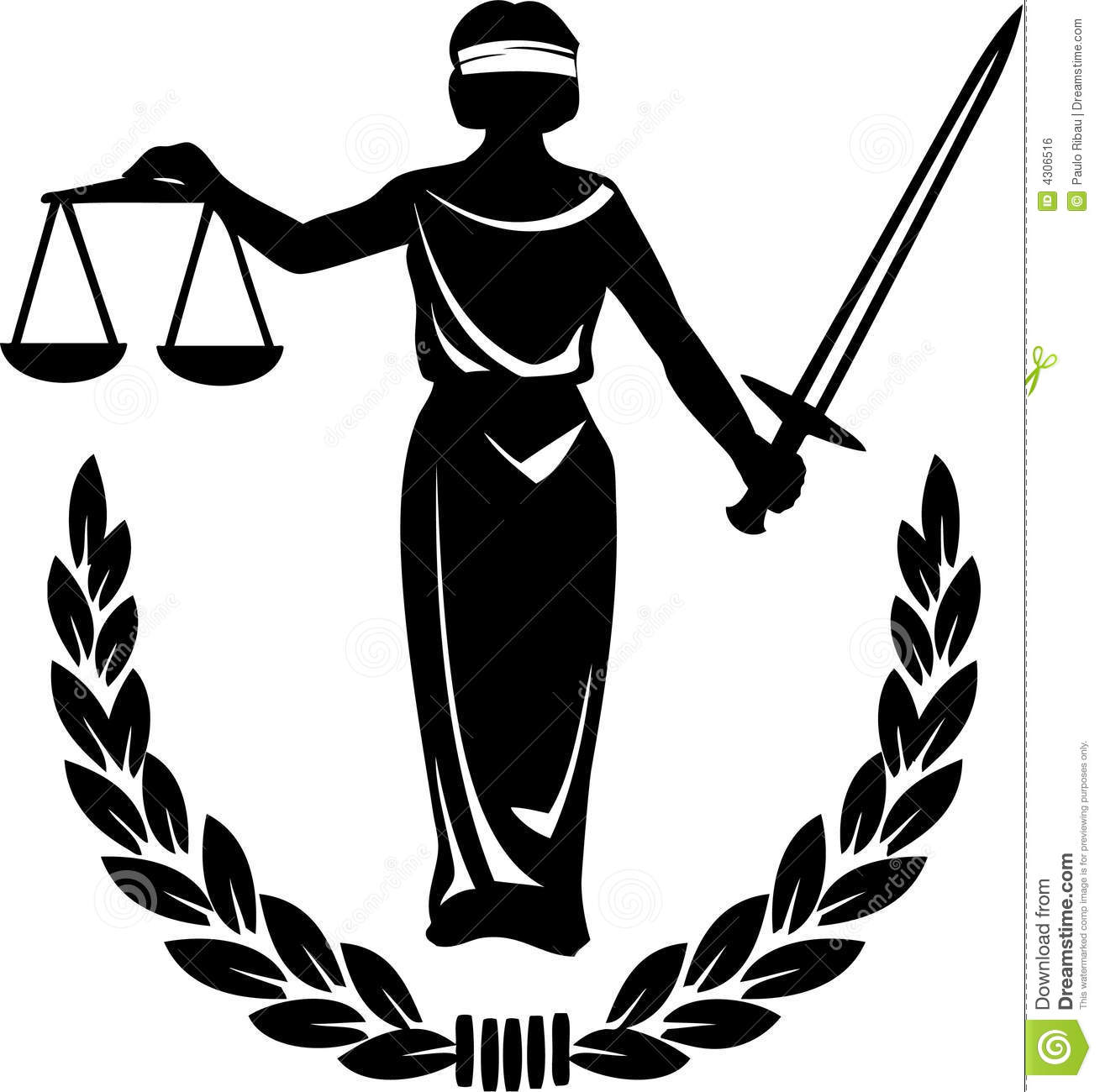 Illustration of a silhouette holding the scales of justice.