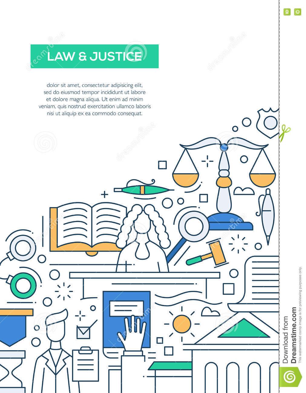 Law And Justice - Line Design Brochure Poster Template A4 Stock