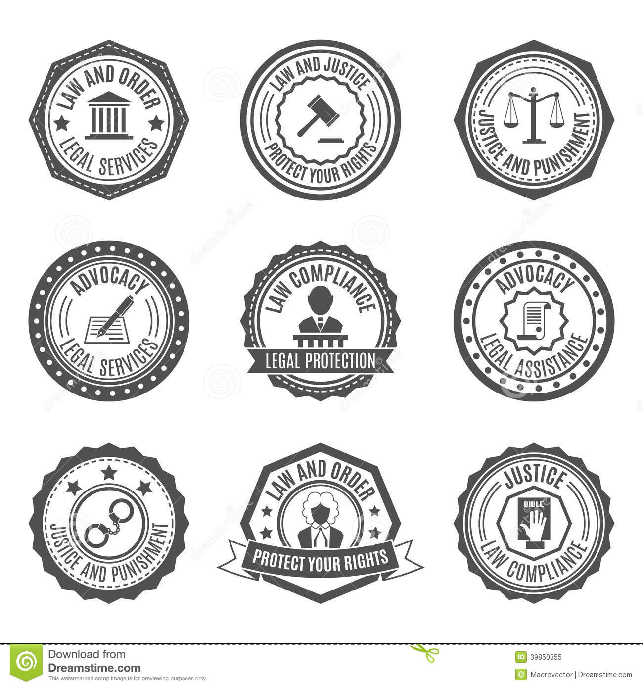 Law Labels Set Stock Vector - Image: 39850855