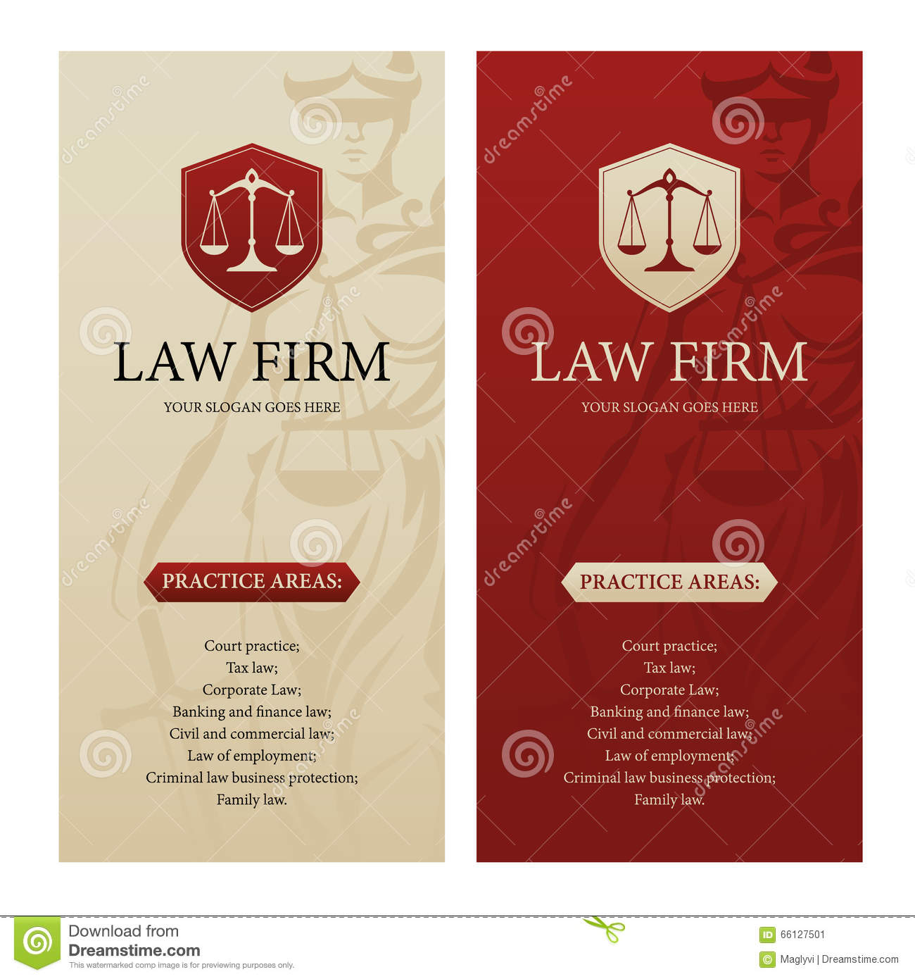 Law Office Firm Or Company Vertical Banners Stock Vector
