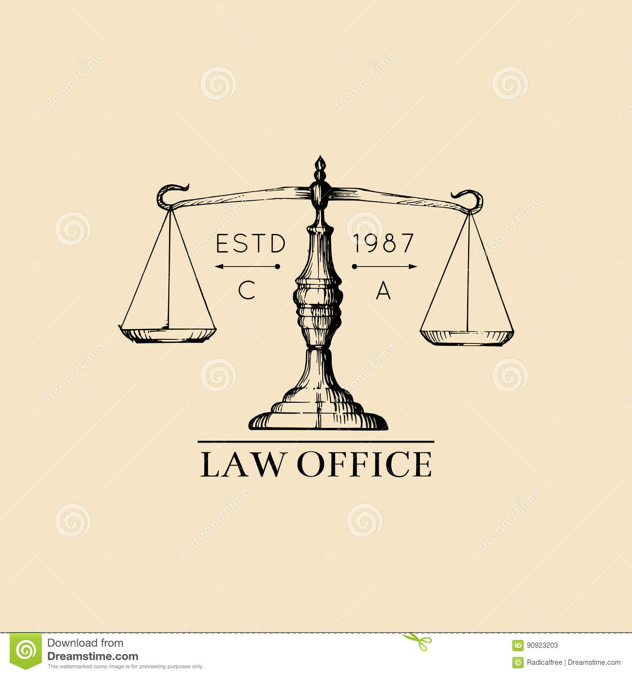 Flat Design Of Empty Law Scale Stock Vector Art & More Images of ...