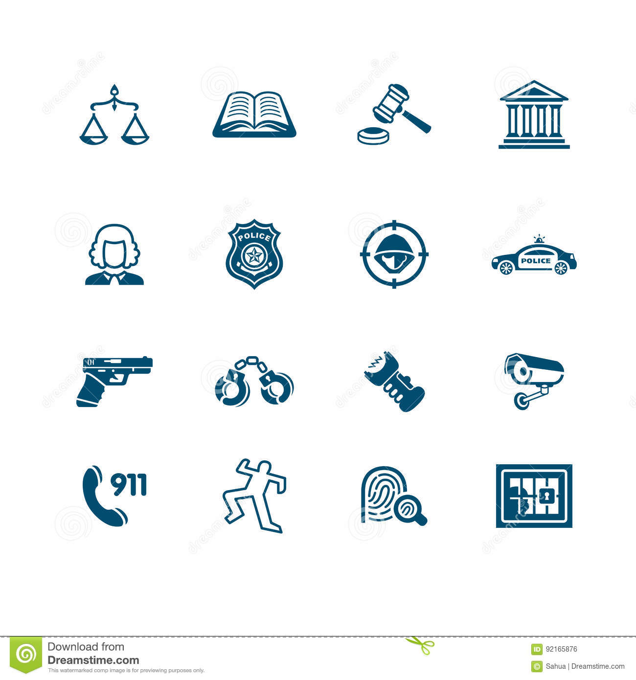 Law And Order Icons Micro Series Stock Vector Illustration Of