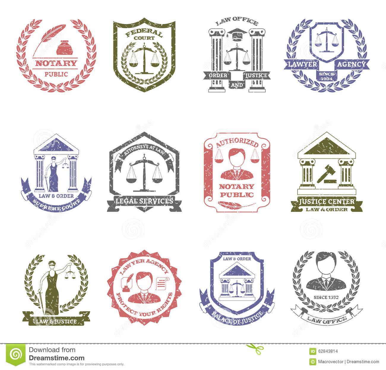 Law and order logo stamps set with lawyer agency and justice center ...