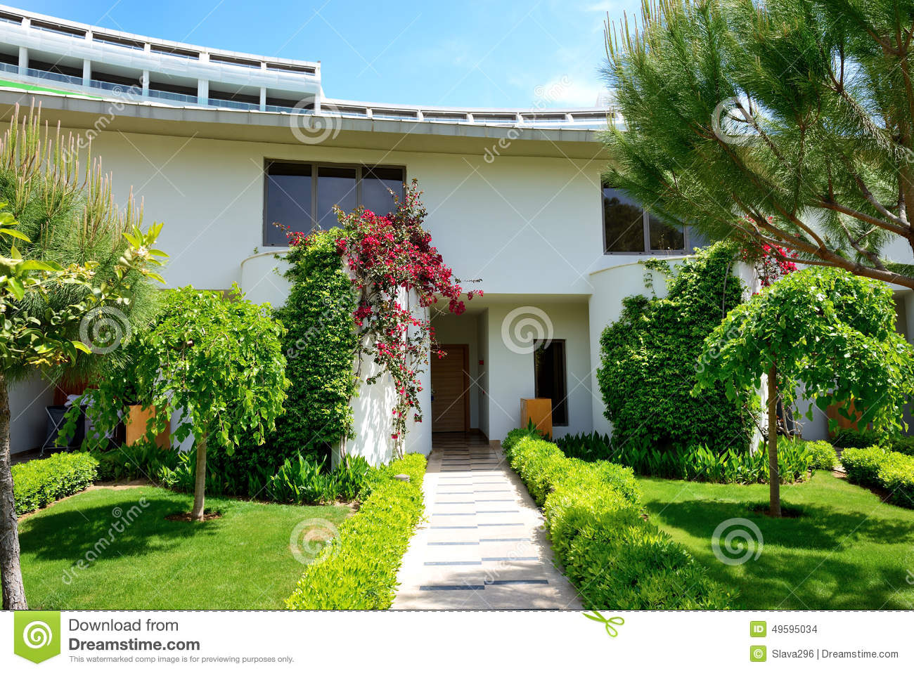 The lawn and building of luxury villa