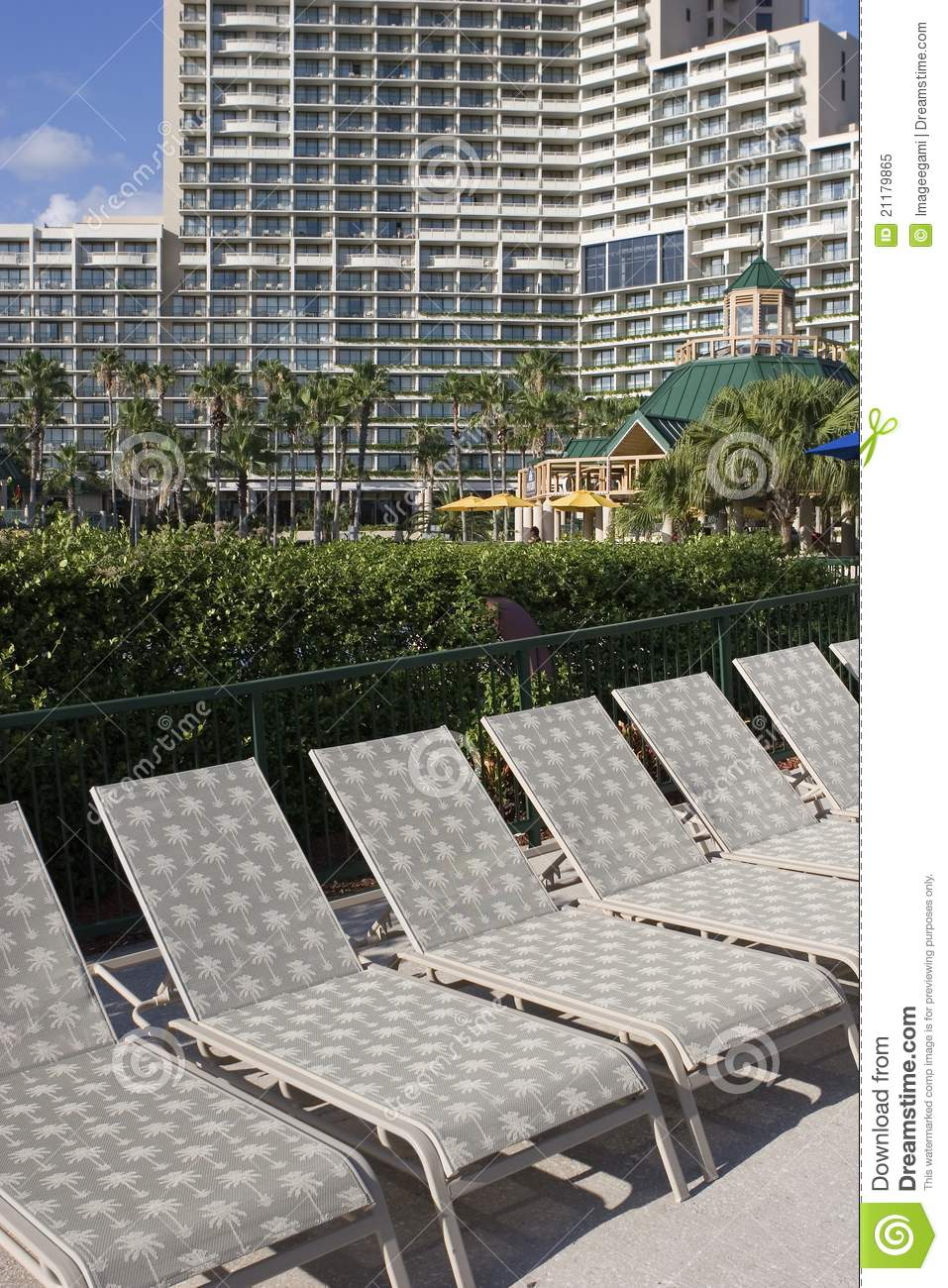 Lawn chairs at a hotel
