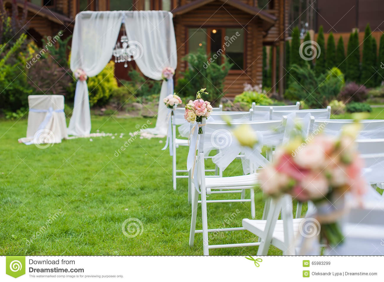 White Chairs At A Wedding Indoor Stock Photo: Lawn With Chairs For The Wedding Ceremony Stock Image