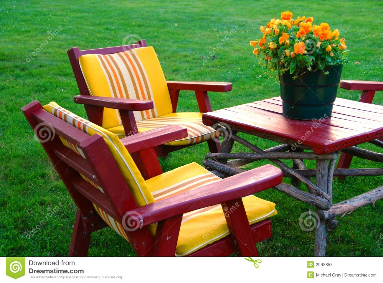 Lawn Furniture Stock Image Image Of Orange Vacation 2948853
