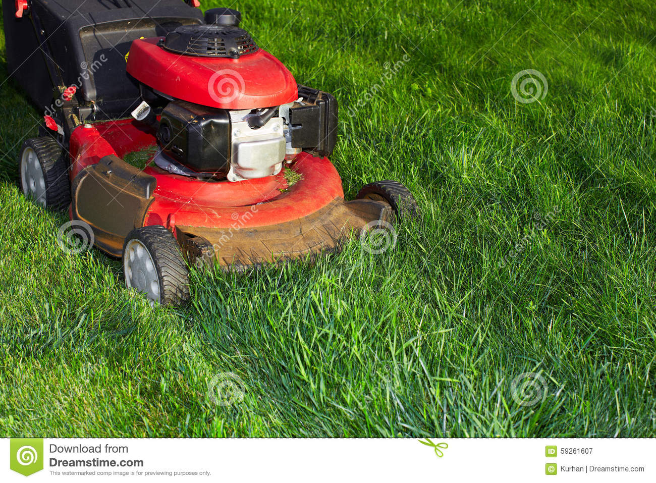 Lawn mower cutting green grass stock image image 59261607 for Lawn mower cutting grass