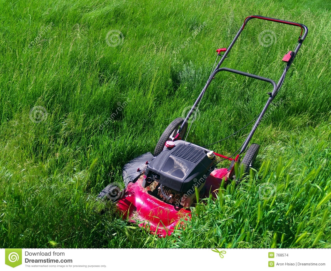 Lawn Mower In Extremely Long Grass Stock Images Image