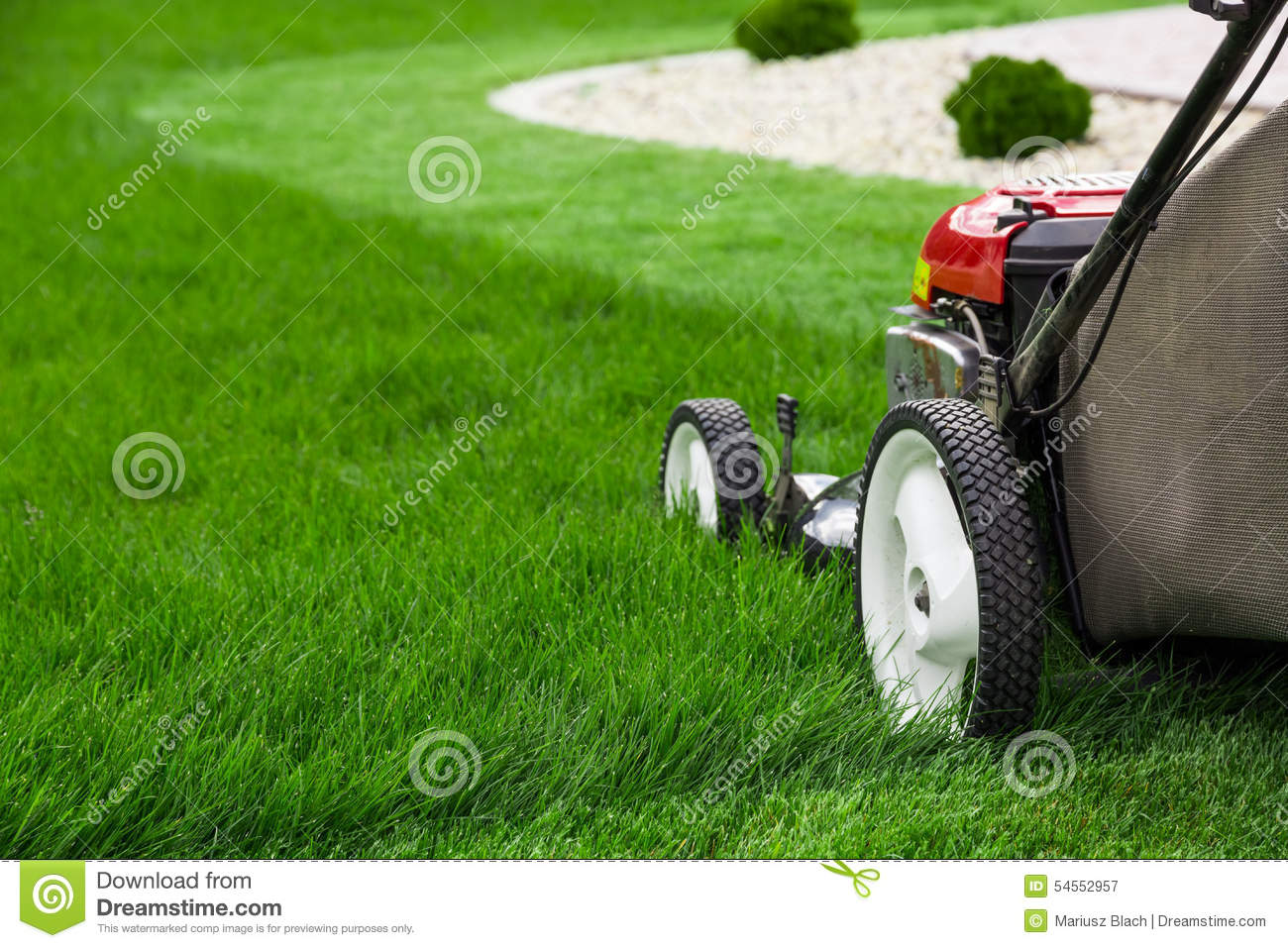Lawn mower cutting grass on white background 3d rendering for Lawn mower cutting grass