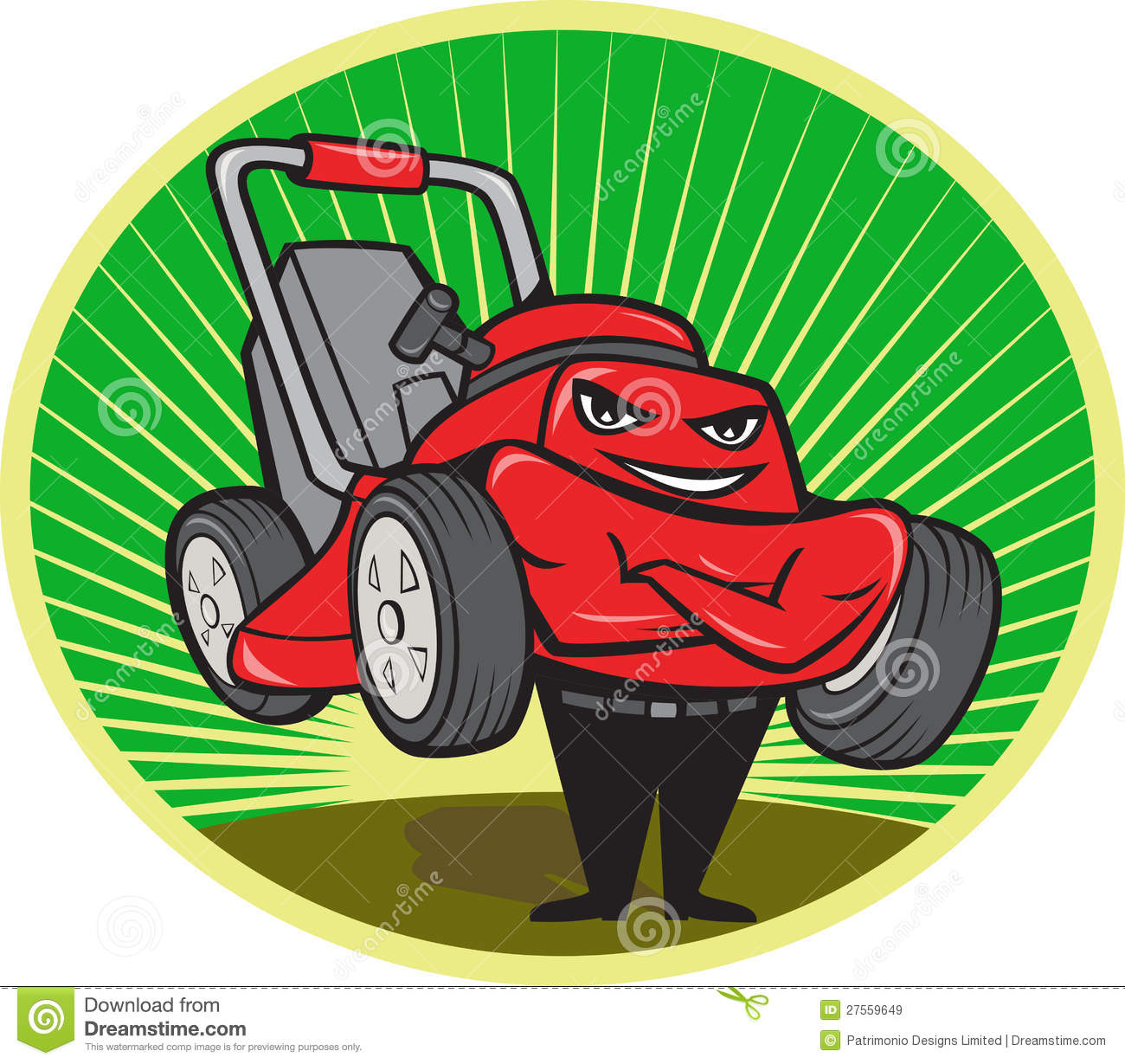 Illustration of lawn mower man smiling standing with arms folded ...