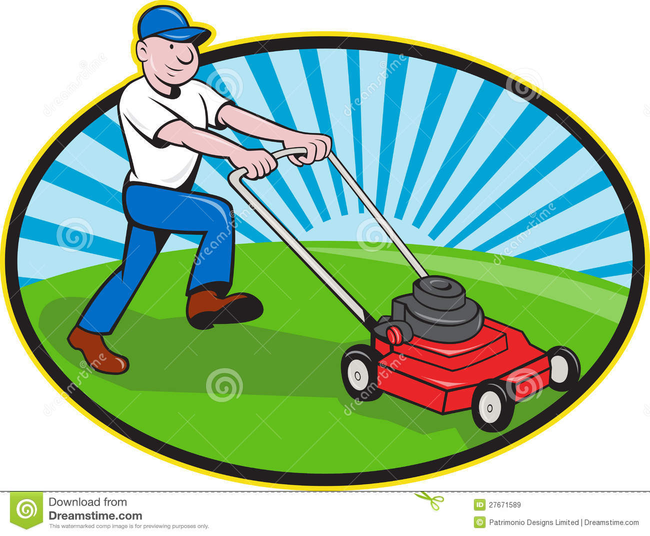 Lawn mower man gardener cartoon stock vector for Paysagiste logo