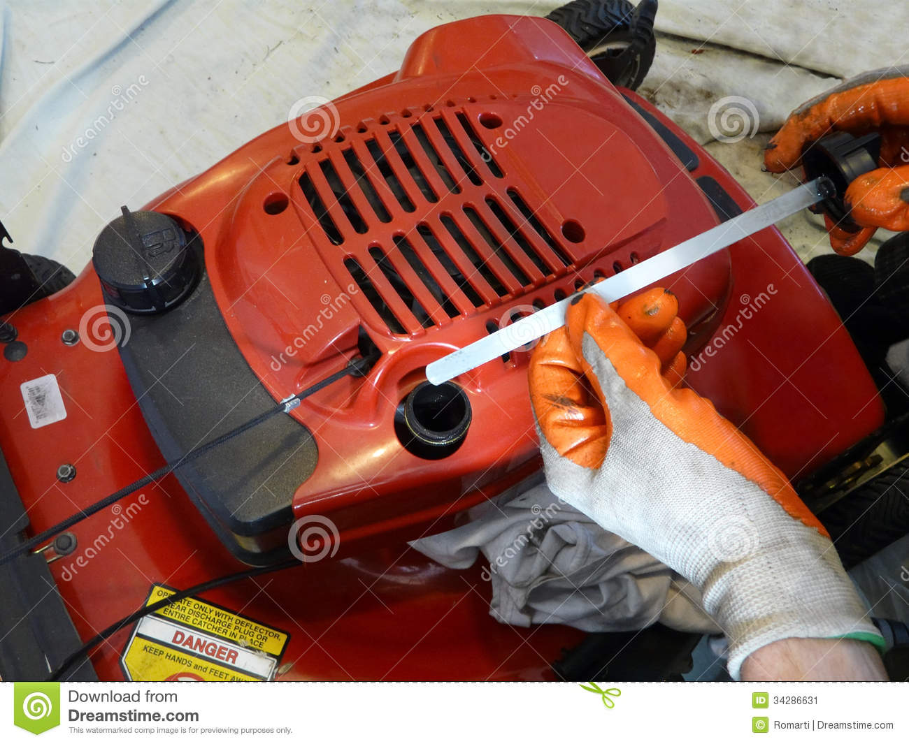 Lawn Mower Oil Check Stock Image Image 34286631