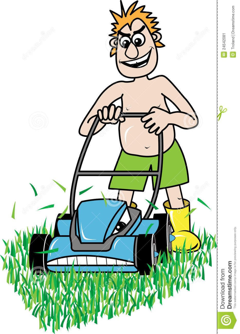 lawn mowing stock image