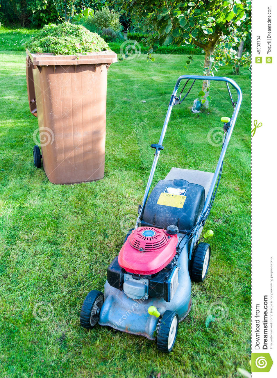 Lawn Mowing Stock Photo Image 45333734