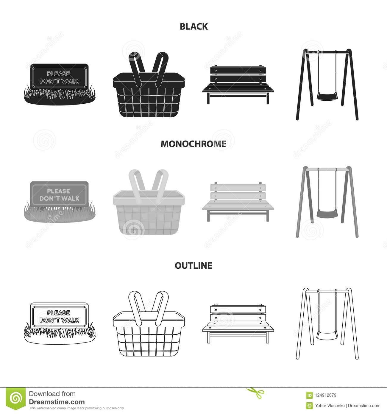 Lawn with a sign, a basket with food, a bench, a swing. Park set collection icons in black,monochrome,outline style