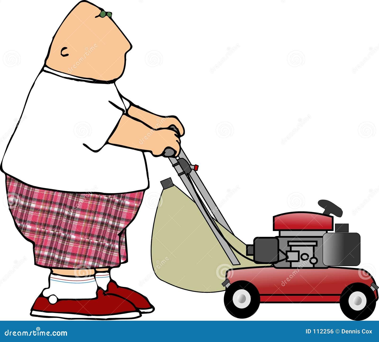 Cartoon Man On Mower : A cartoon guy cutting the grass vector illustration