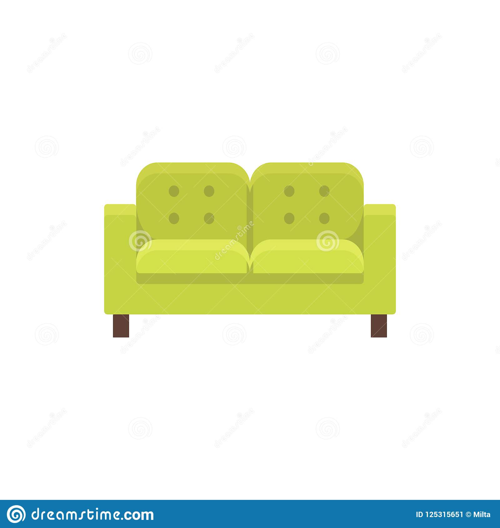 Lawson Sofa Vector Illustration Flat Icon Of Green Tufted Double
