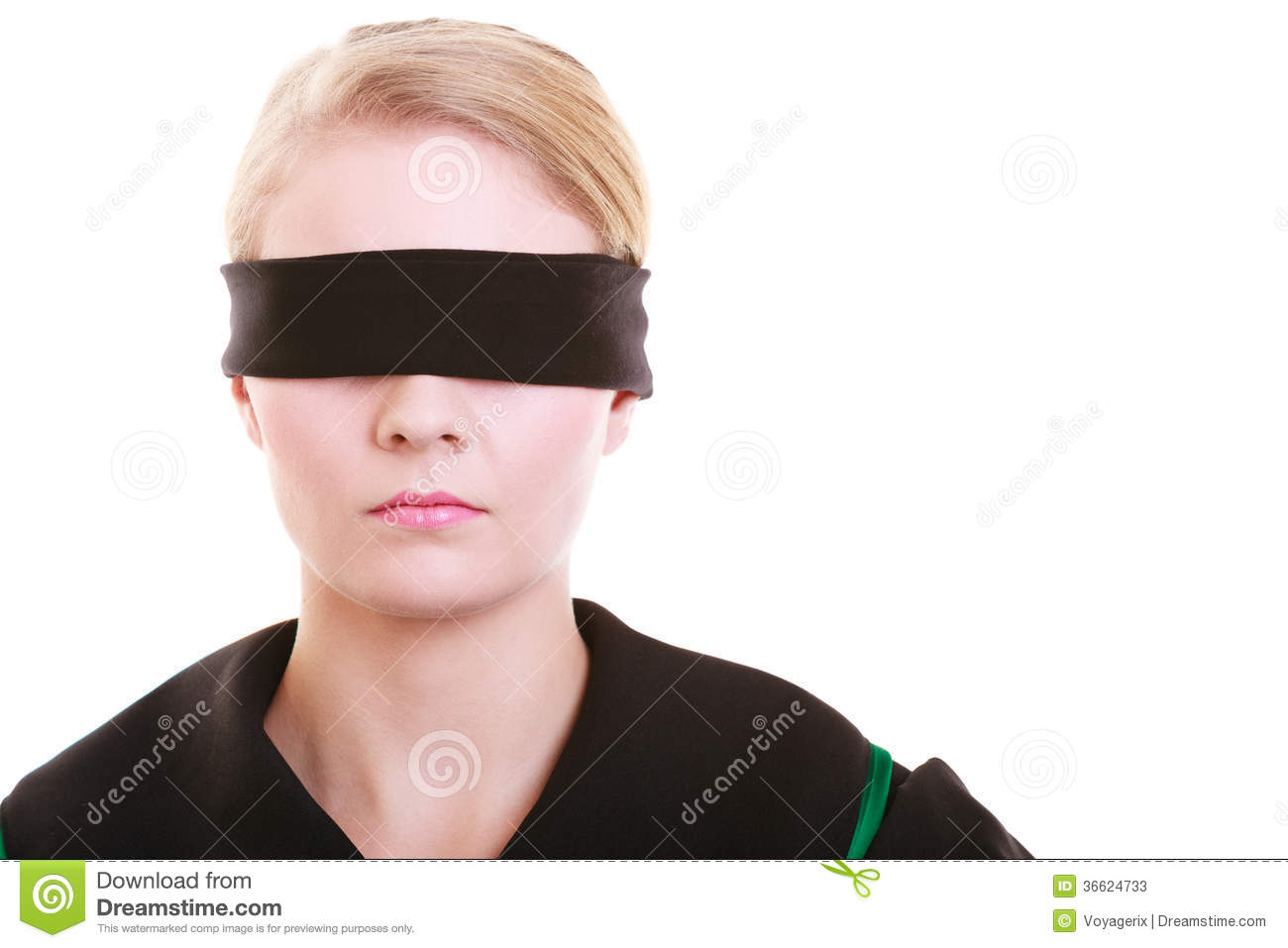 Wearing a blindfold