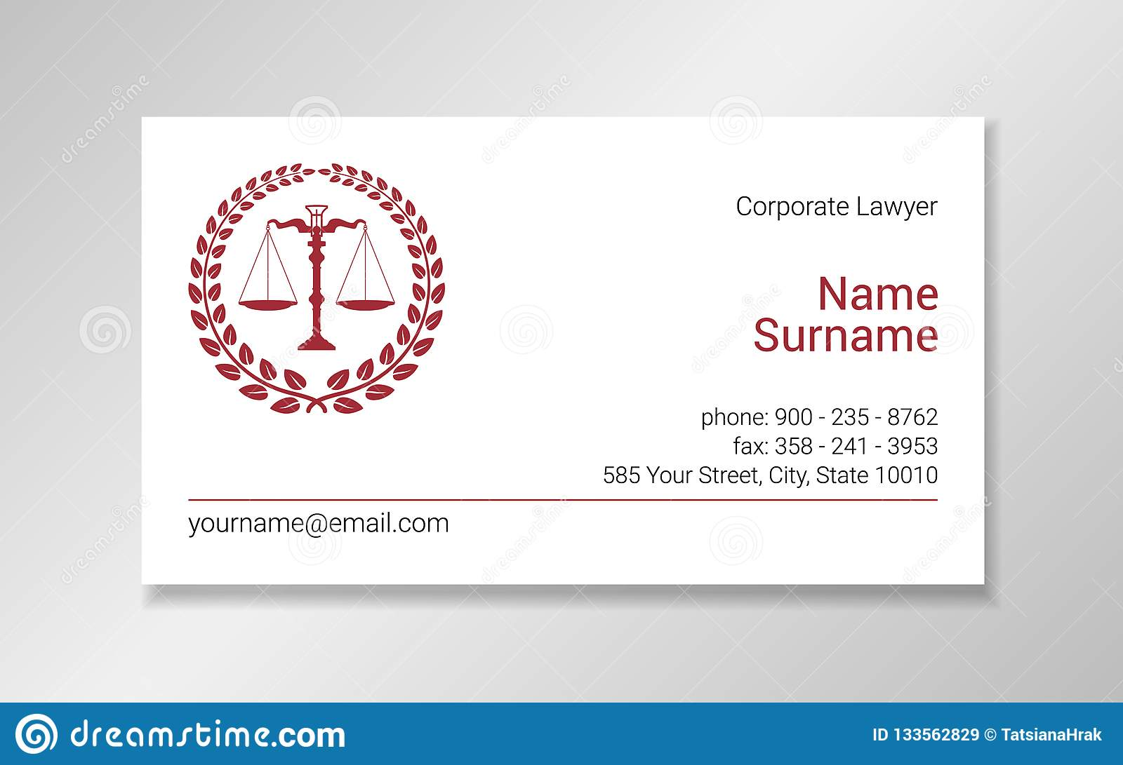 Lawyer Business Card Design Template With Burgundy Scales Silhouette