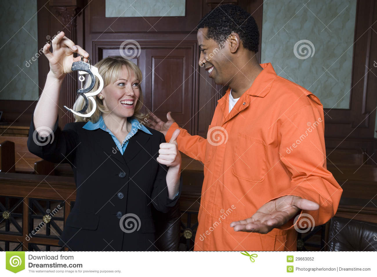 Lawyer And Client Celebrating Acquittal