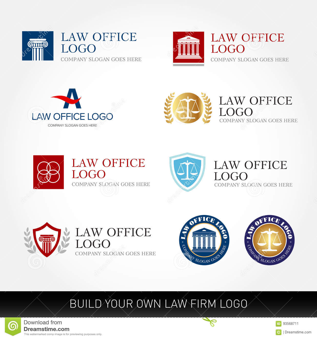 Lawyer Logo Design Templates Law Office Logo Set The Judge Law - Law firm templates