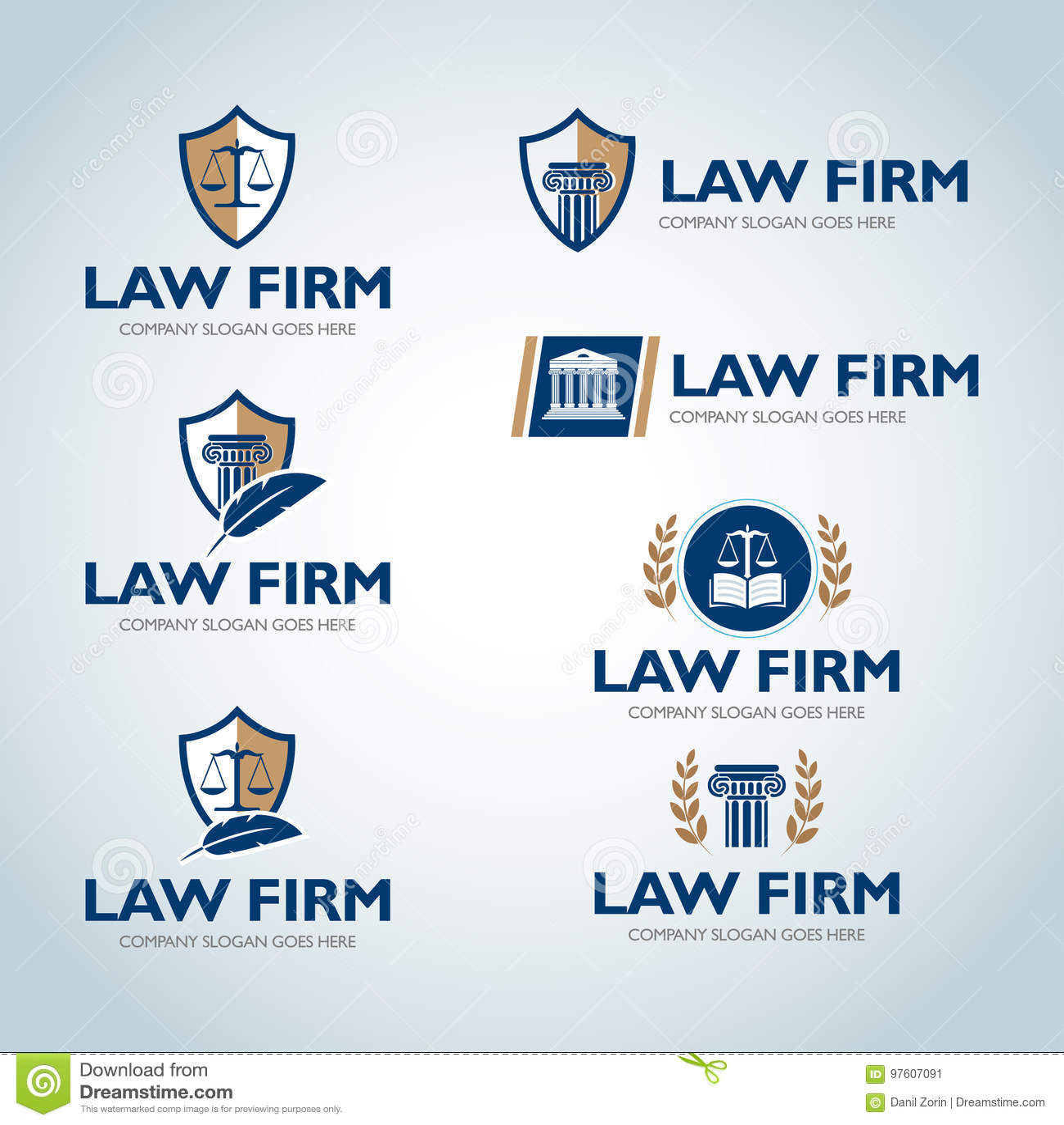 Lawyer Logo Design Templates. Law Office Logo Set. The Judge, Law ...