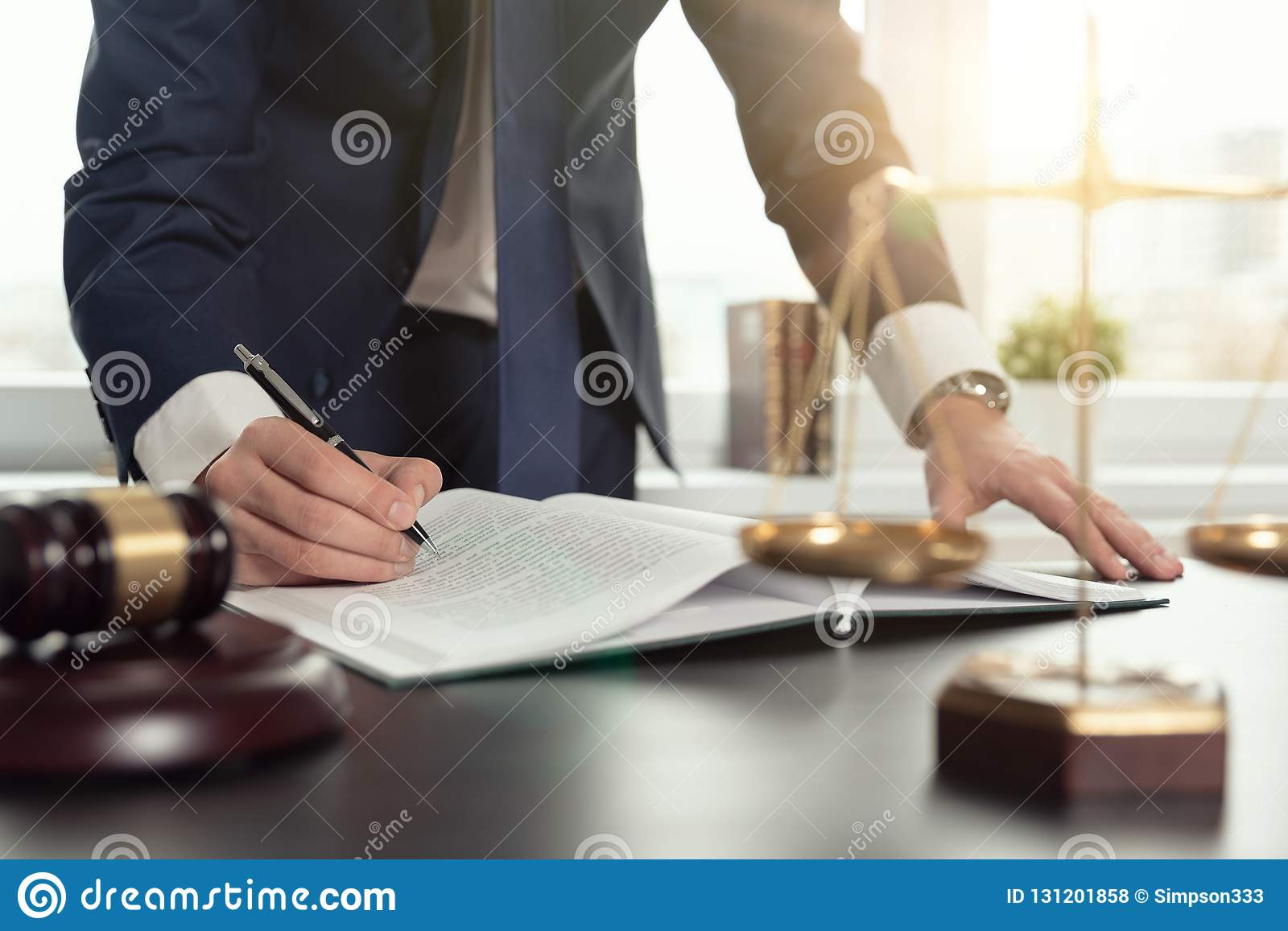 Lawyer Working With Documents  Justice Concept  Stock Photo