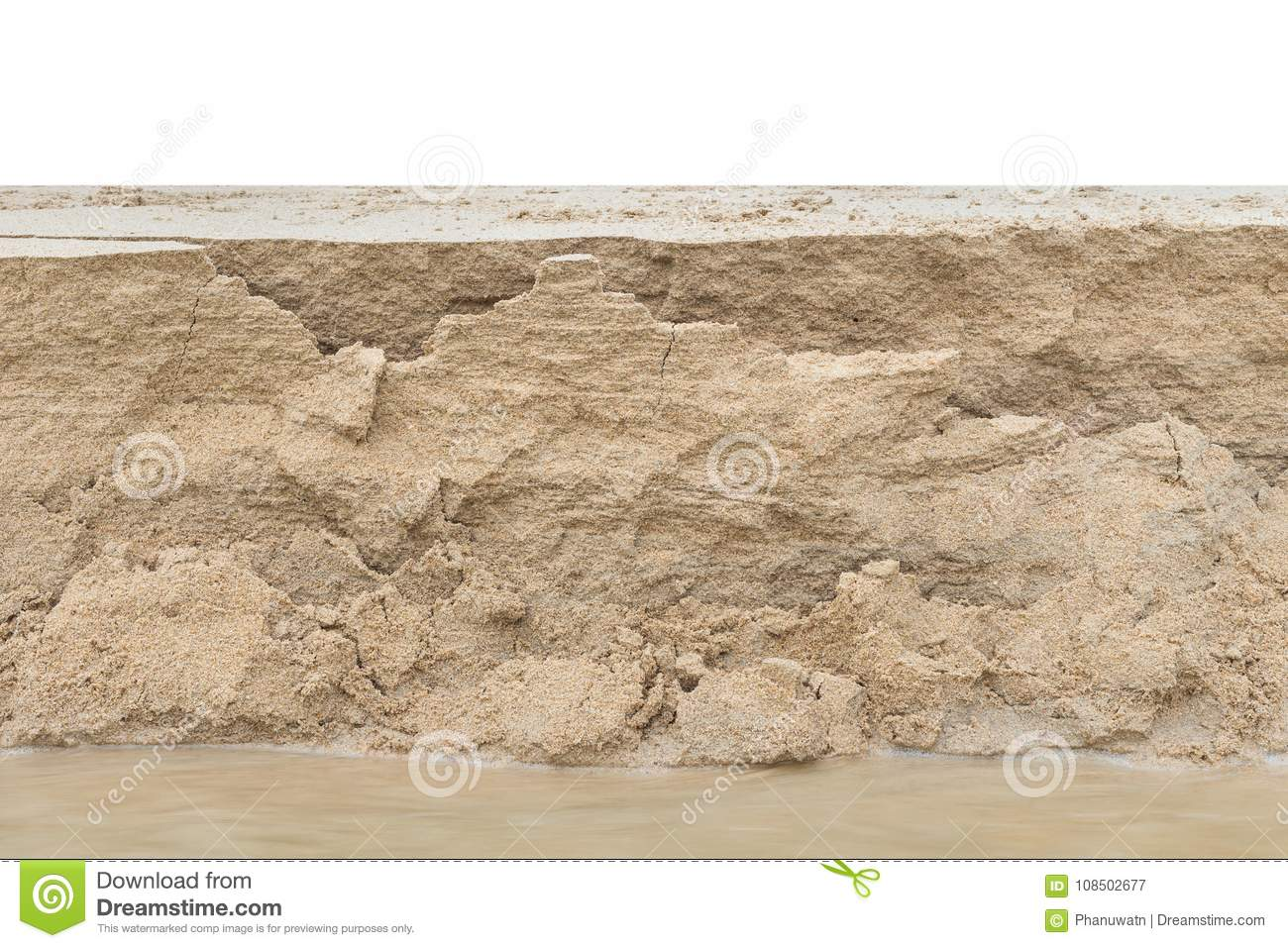 Layer of sand from sand erosion on the beach. Isolated on white