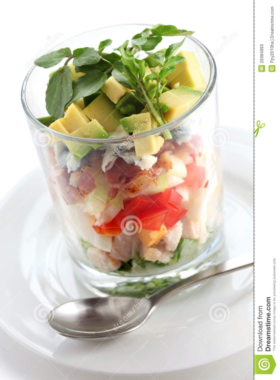 Layered Cobb Salad In A Glass Cup Stock Photos - Image: 29384993