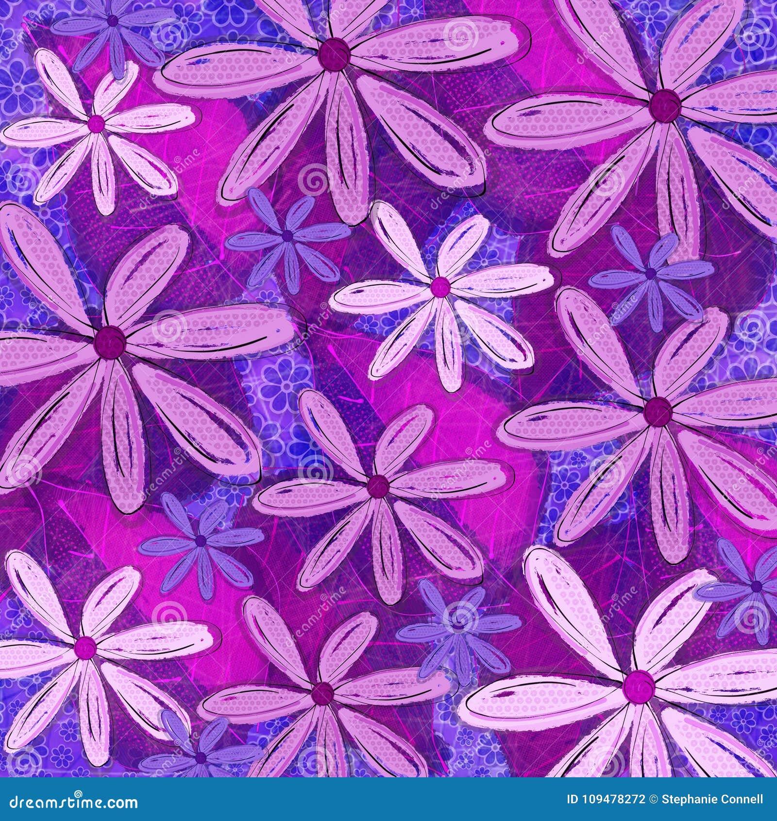Purple Funky Floral Pattern Deign