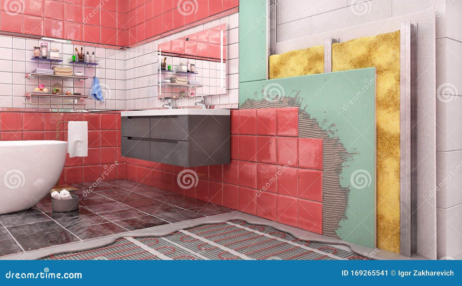 Layered Scheme Of Bathroom Interior Thermal Insulation Stock