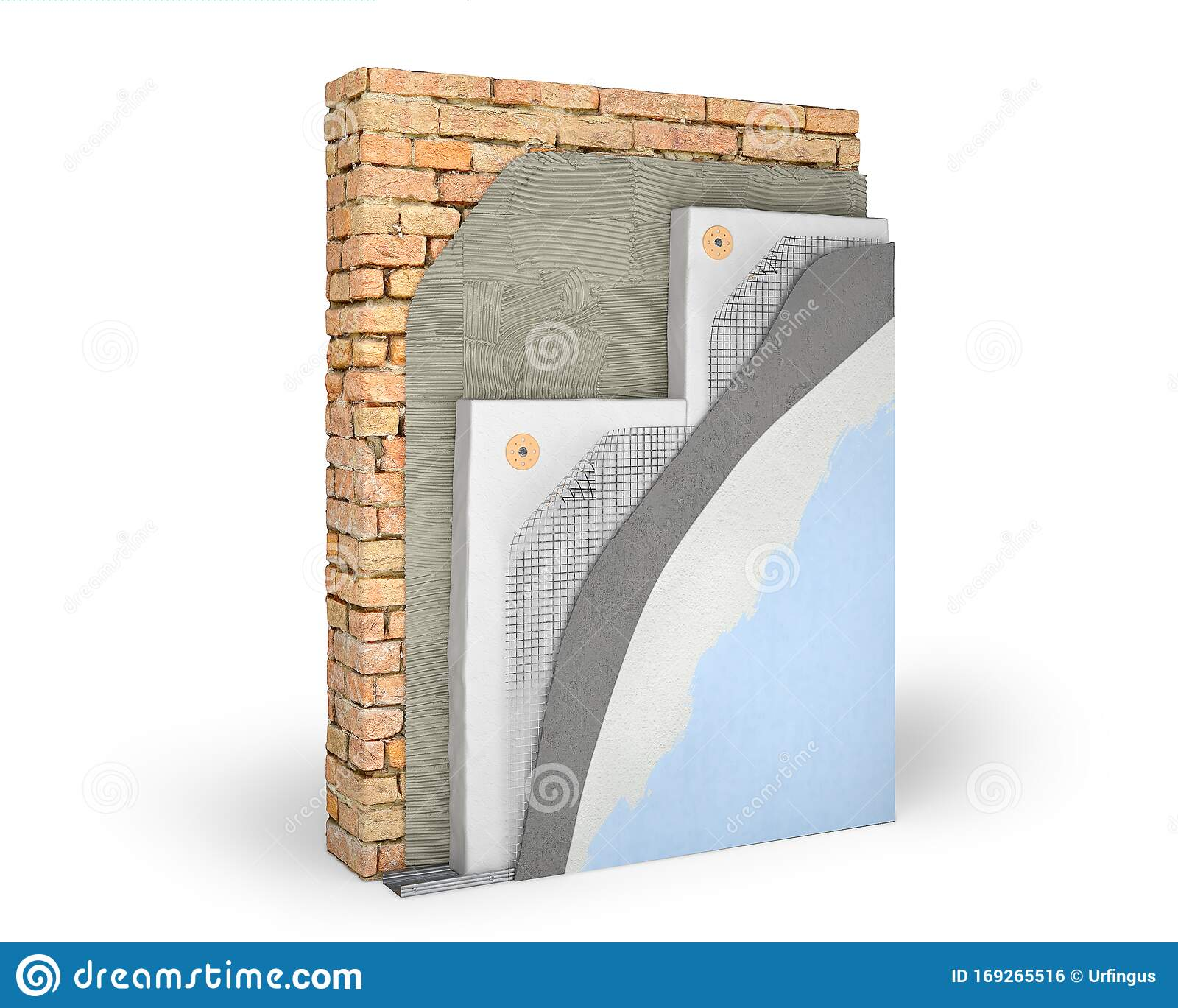 Layered Scheme Of Exterior Wall Insulation With Polystyrene Foam Stock Illustration Illustration Of Background Industry 169265516