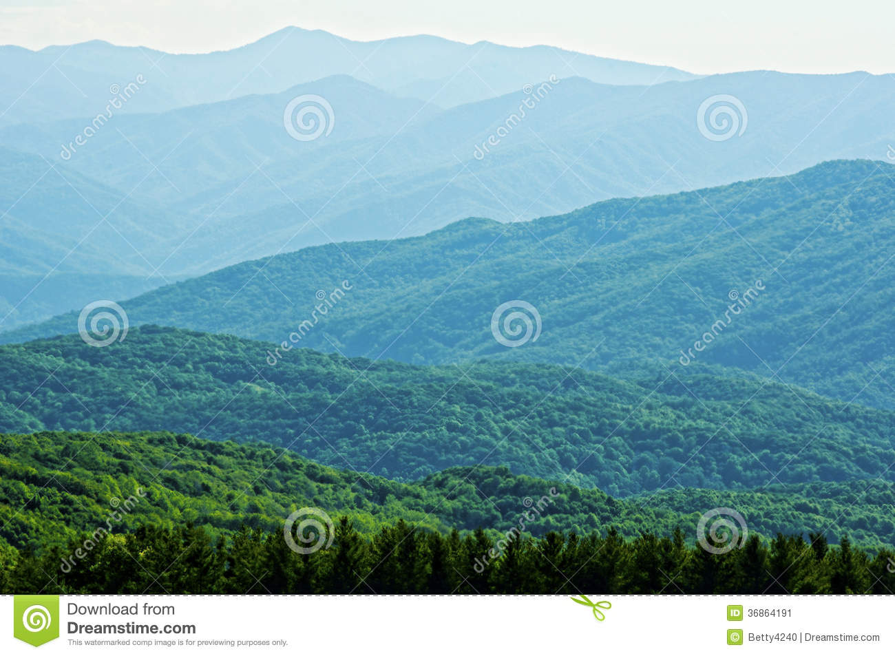Layers of blue mountains in the Smokies.