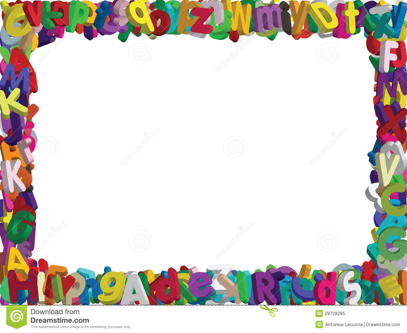 3D Alphabet Border- Vector Stock Vector. Illustration Of