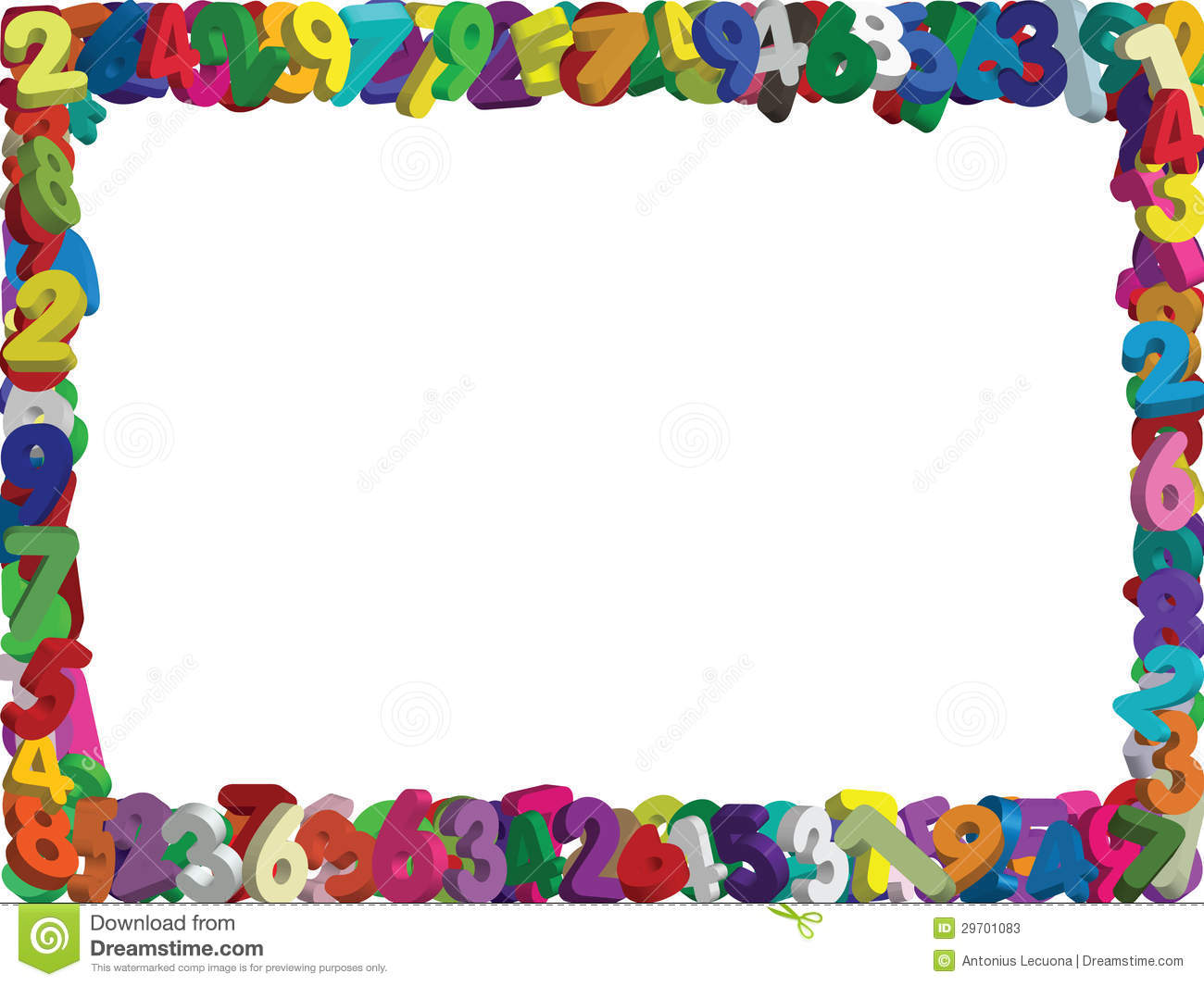 Numbers Border Clip Art 3d numbers border- vector