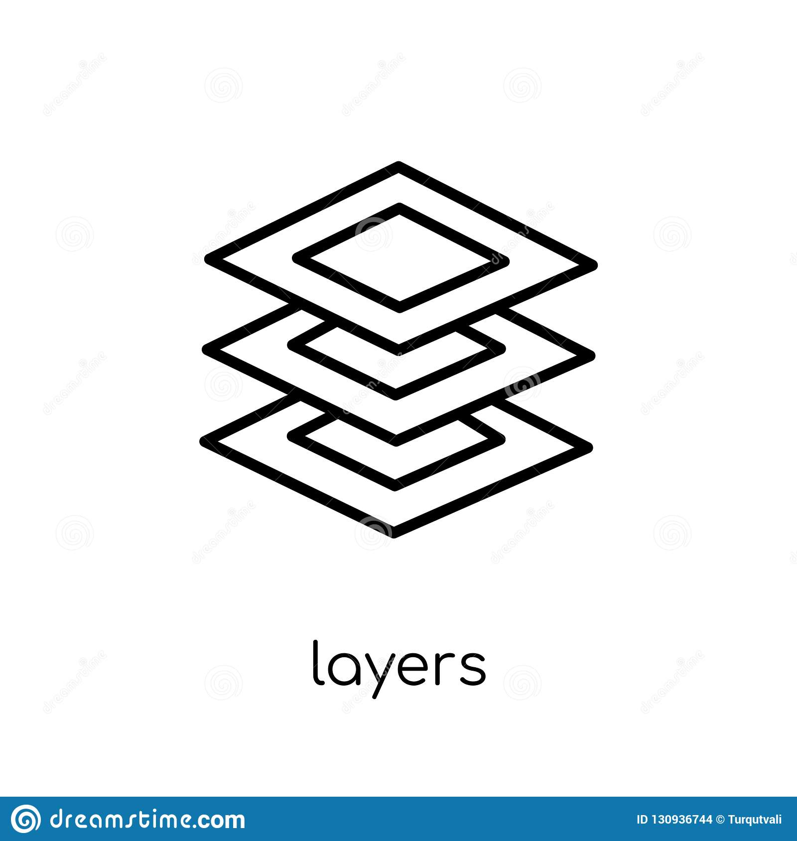 Layers icon. Trendy modern flat linear vector Layers icon on white background from thin line Artificial Intelligence, Future Tech