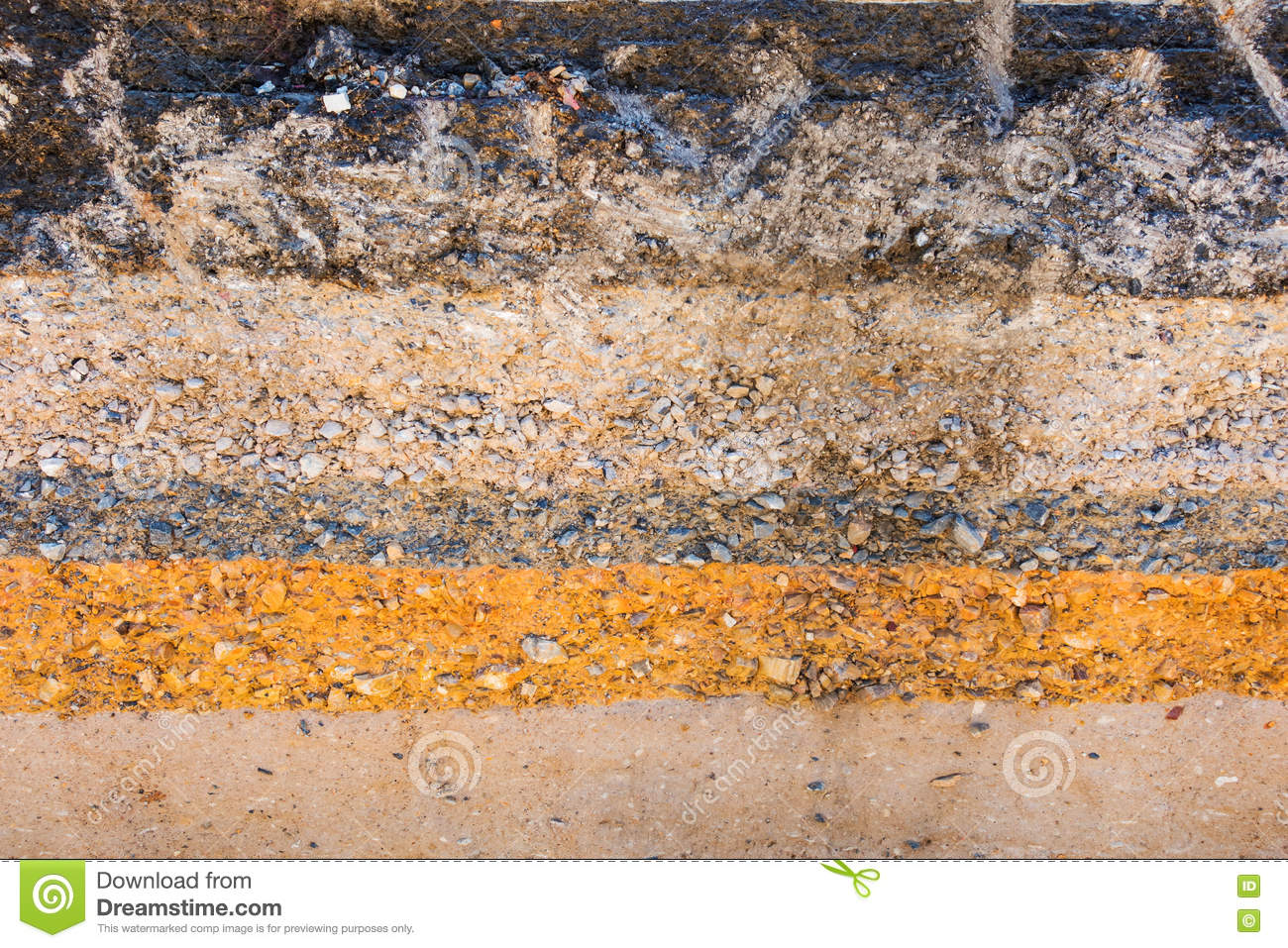 Layers soil and rock of traffic road layer soil paving for Earth soil layers