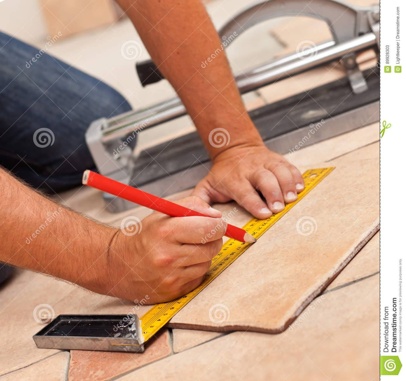 Laying Ceramic Floor Tiles Man Hands Marking Tile To Be Cut C