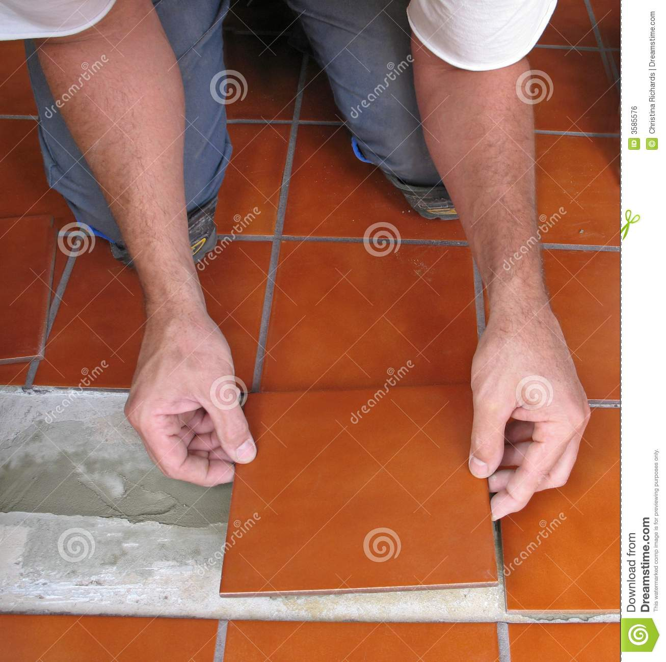 Laying Ceramic Tile Stock Photo Image Of Detail Floor 3585576