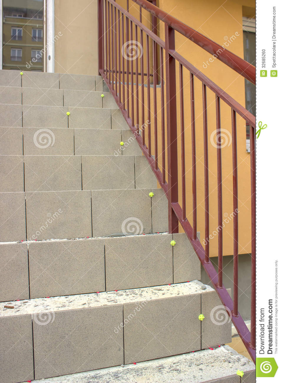 Laying ceramic tile on concrete stairs stock photo image of hard laying ceramic tile on concrete stairs dailygadgetfo Choice Image