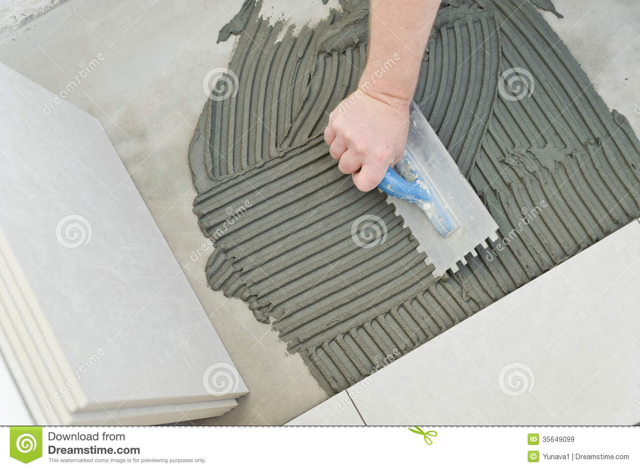 Laying Ceramic Tiles Stock Image Image Of Building Home 35649099