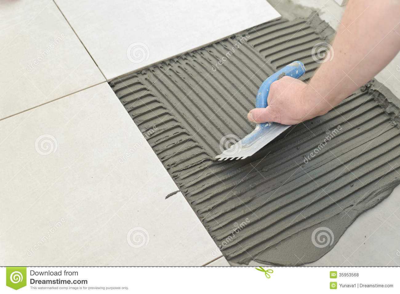 Laying Ceramic Tiles Stock Photo Image Of